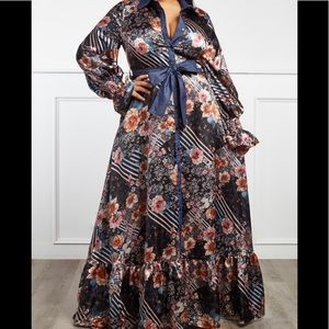Dresses & Skirts - Plus Size Mix up Floral and Stripe Maxi Dress